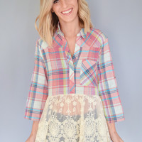 Harvest Moon Lace Hem Plaid