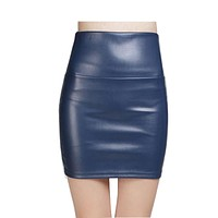 Women PU Leather skirt Natural Color high