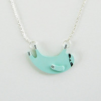 Sloth Necklace - Light Blue - Ships in 2-3 days