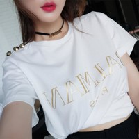 """Balmain"" Unisex Casual Simple Print Letter Short Sleeve Couple T-shirt Top Tee"