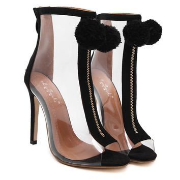 Pom Pom black and clear zip up booties