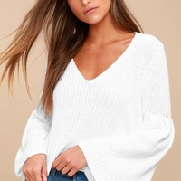 Damsel White Bell Sleeve Knit Sweater