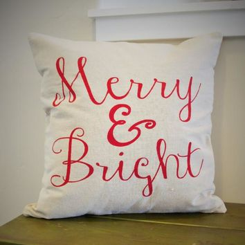 Merry and Bright Christmas pillow cover