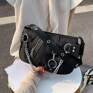 Trend all-match men and women nylon chain waist bag chest bag shoulder bag