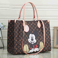 Onewel LV Bag Louis Vuitton Shopping Bag Big Square Bag Mickey Mouse Bag Dark Coffee