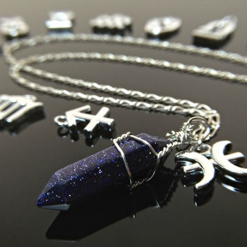 Zodiac Necklace Crystal Necklace Sterling Silver Chain Galaxy Jewelry Astrology Necklace Gypsy Jewelry Wire Wrapped Crystal Fairy Tail