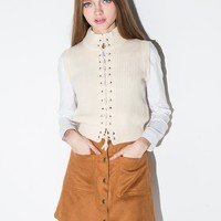 Brown Suede Button A line Skirt