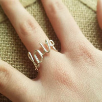 Love Ring / Wire Love Ring / Love Jewelry / Wire Jewelry / Wire Ring / Bridesmaids Gift / Love / Custom Sized Ring / Wire Script Ring