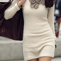 Off-White Long Sleeve Floral Knitted Dress