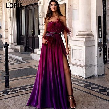 LORIE Colorful Celebrity Dresses Chiffon with Feathers A-line Formal Evening Gowns 2021 Beach Prom Party Dresses High Split
