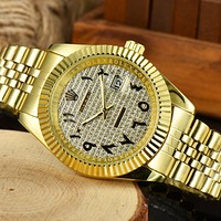 Rolex new dial diamond men and women splicing color casual business watch