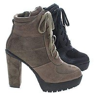 Laker11A By Wild Diva, Women Lace up Combat Lita Bootie w Threaded Lug Sole, Chunky High Heel