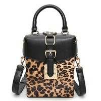 2017 PU Leather Handbags Women's Designer Leopard handbag High quality fashion printing rivet shoulder bag Square female package