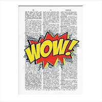 Vintage Dictionary Paper WOW Comic Art Words Dictionary Art Print