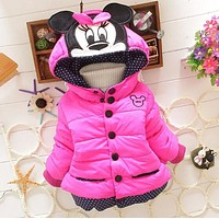 Down Parkas 0-6 ages children outerwear winter snowsuit christmas clothing coats Jacket minnie mouse warm thicken clothes Kids