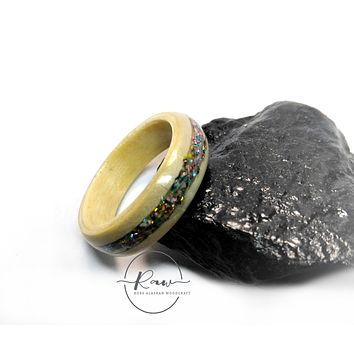 Rainbow Sparkle and Aspen Bent Wood Ring