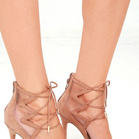 Daya by Zendaya Anderson Blush Suede Lace-Up Heels