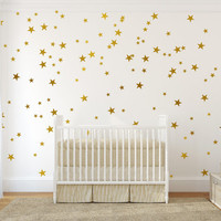 Gold vinyl wall decal sticker wall art stars - Gold star decal set for baby nursery wall - gold confetti stars