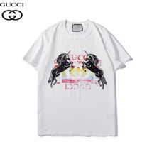 GUCCI Summer Fashion New Bust Unicorn Colorful Letter Print Women Men Top T-Shirt White