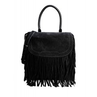Barbara Bui Black Suede Fringe Flap Bag - Black Leather Shoulder Bag - ShopBAZAAR