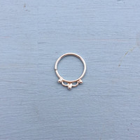 Dewdrops Septum Ring - Solid Sterling Silver - Piercing Ring Daith Helix