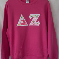 Cyber Pink Sweatshirt With Delta Zeta Lilly Print on White