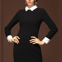 Black Pointed Flat Collar Long Cuff Sleeve A-Line Mini Dress