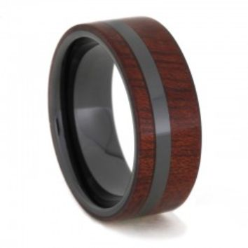 Black Ceramic Ring with Deep Red Bloodwood Overlay, Wood Wedding Band
