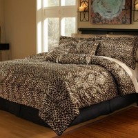 My Associates Store - 7Pcs Queen Leopard Faux Fur Bed in a Bag Comforter Set