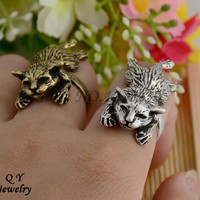 Vintage 3D Lazy Cat Wrap Ring Anillos Boho Chic Anillos Knuckle Cat Rings For Women Men Fashion