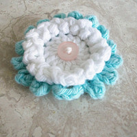 Crochet Flower Pin Brooch Aqua Blue White Handmade Pin Boho Beach Shabby Romantic