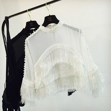 Perspective Chiffon Fringed Blouses tassels bottoming Shirts Flare Sleeve Slim O-Neck Hollow splicing High Waist Tops Summer