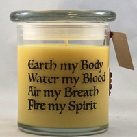 Four Elemental Chant Candle, Wiccan Soy Candle, Natural Candle, All Natural Essential Oil Candle,12 oz, Goddess, Inspirational Quote Candle.