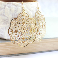 Big Gold Earrings Lace Filigree Earrings Modern Large Dangle Gold Spanish Style Boho Chic Gold Bridal Jewelry Bridesmaids Gift Lightweight