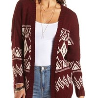 Slouchy Aztec Cardigan Sweater by Charlotte Russe - Burgundy Cmb