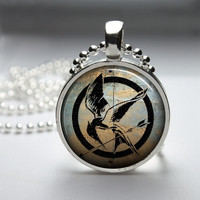 Round Glass Bezel Pendant Hunger Games Pendant by IncrediblyHip
