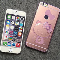 Cute Ultra Thin 3d Stereo Transparent Bowknot Hello Kitty Ultra Thin TPU Case Cover for Iphone 6 Plus 5.5 Inch (Pink)