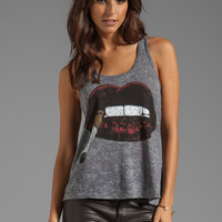 Lauren Moshi Nancy Color Cig Lip Racerback Tank in Heather Grey from REVOLVEclothing.com