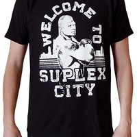 GILDAN Cheap Sale T-shirt Brock Lesnar Welcome to Suplex City Men's Black T-shirt Make Your Own Shirt