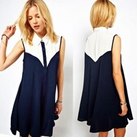 Women's Girls Color Block Buttons Sleeveless Chiffon Georgette Shift Mini Dress