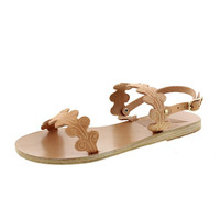 Ancient Greek Sandals Womens Chloe Leather Scalloped Slingback Sandals