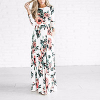 Ladies White Floral Print Maxi Spring Dress