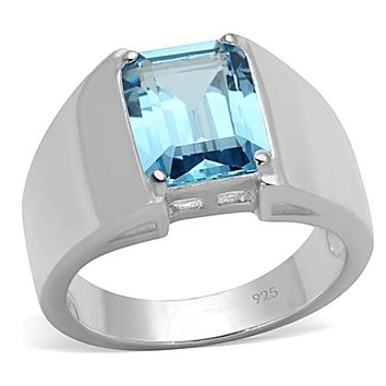 Silver Wedding Rings LOS742 Silver 925 Sterling Silver Ring with Synthetic