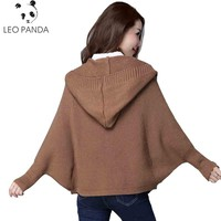Autumn Winter Fashion New Style Women Bat Sleeve Loose Stripe knitted Cardigan Hooded Sweater Poncho Female Thick Coat LCY135