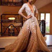 Elegant Mermaid Evening Dress Nude Color Tulle Crystal Royal Party Occasion Formal Long Prom Dress With Court