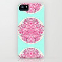 Spring Arrangement - floral doodle in pink & mint iPhone & iPod Case by micklyn | Society6
