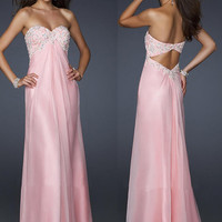 Pink Sweetheart strapless Satin beaded Prom Dress evening dresses/cocktail dresses