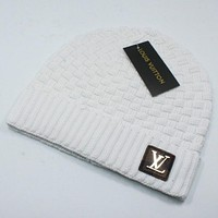 Louis Vuitton LV New fashion winter knit wool cap couple keep warm tartan hat White