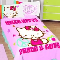 Hello Kitty Kitty Peaceful Twin/Full Thoughts Blanket