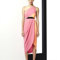 BRAVE & BRAZEN CROSS OVER DRAPED MIDI DRESS